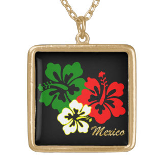 Hibiscus Flowers Gold Plated Necklace
