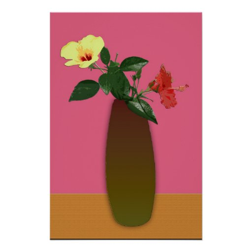 Hibiscus Flowers in a Vase Digtal Art Poster