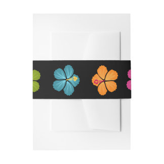 Hibiscus Flowers Invitation Belly Band