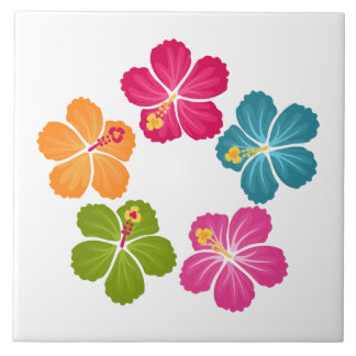 Hibiscus Flowers Large Square Tile