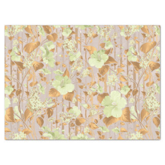 Hibiscus flowers mint green copper floral tissue paper