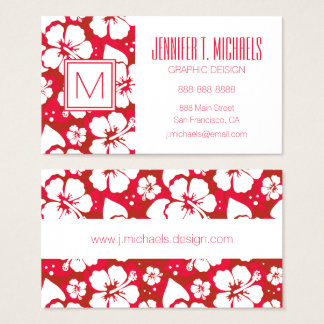 Hibiscus Flowers Pattern Business Card