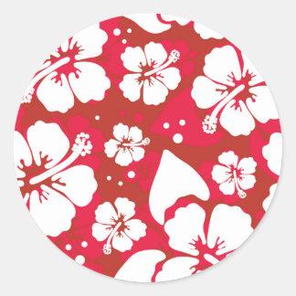 Hibiscus Flowers Pattern Round Sticker
