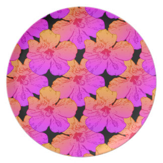 Hibiscus Flowers Pink on Black Dinner Plate