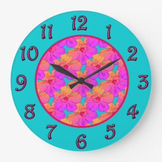 Hibiscus Flowers Pink on Turquoise Large Clock