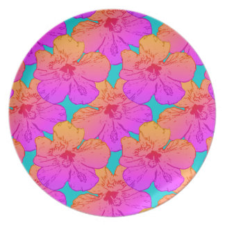 Hibiscus Flowers Pink on Turquoise Dinner Plate