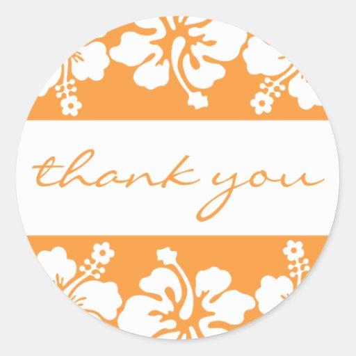 Hibiscus Flowers Thank You Label (Orange) Stickers