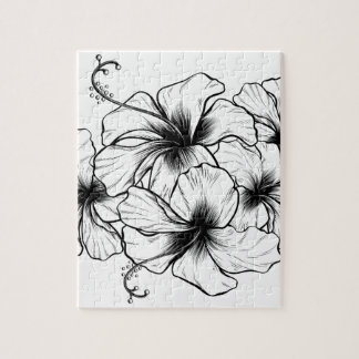 Hibiscus Flowers Vintage Retro Woodcut Etching Jigsaw Puzzle