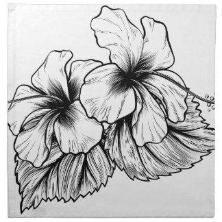 Hibiscus Flowers Vintage Style Woodcut Engraved Et Napkin