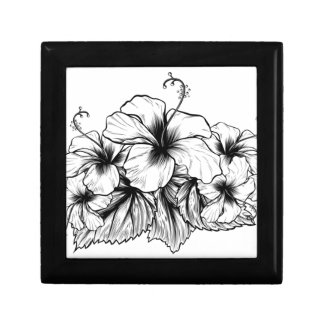 Hibiscus Flowers Vintage Style Woodcut Etching Gift Box