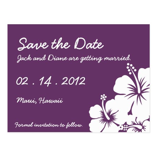Hibiscus Flowers Wedding Postcards