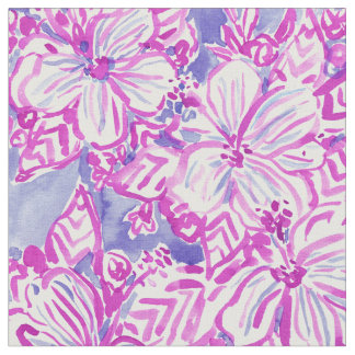 HIBISCUS FTW Purple Tropical Floral Watercolor Fabric