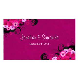 Hibiscus Fuchsia Floral Wedding Favor Favour Tags Double-Sided Standard Business Cards (Pack Of 100)