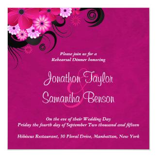 "Hibiscus Fuchsia Wedding Rehearsal Dinner Invites 5.25"" Square Invitation Card"