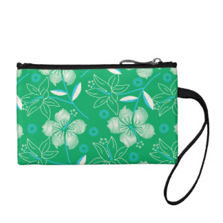 Hibiscus green printed embroidery coin purse