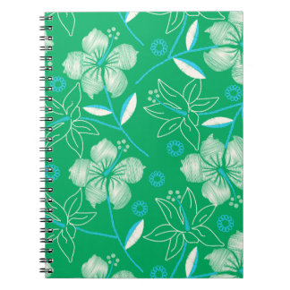 Hibiscus green printed embroidery notebook