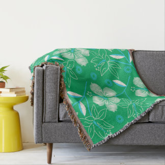 Hibiscus green printed embroidery throw blanket