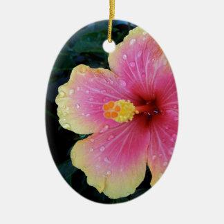 Hibiscus Hawaiian Flower Ceramic Oval Decoration