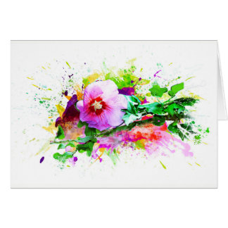Hibiscus, Hibiskus Flower - Watercolor Splash Card