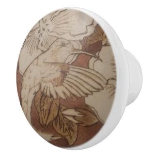 Hibiscus Humming Bird Ceramic Knob