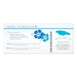 Hibiscus Jamaica Boarding Pass | Accommodations 10 Cm X 24 Cm Invitation Card