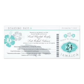 Hibiscus Jamaica Boarding Pass Wedding 10 Cm X 24 Cm Invitation Card