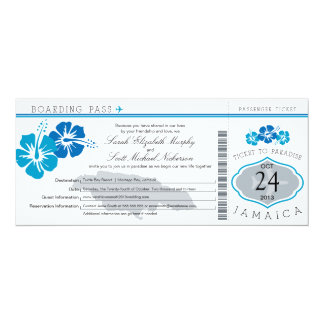 Hibiscus Jamaica Boarding Pass Wedding 4x9.25 Paper Invitation Card