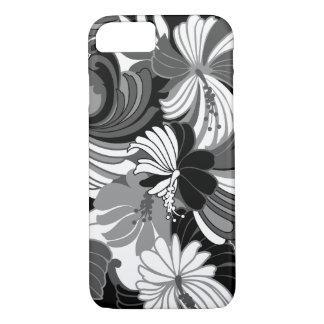 Hibiscus Jungle Hawaiian Tropical Floral Black iPhone 8/7 Case