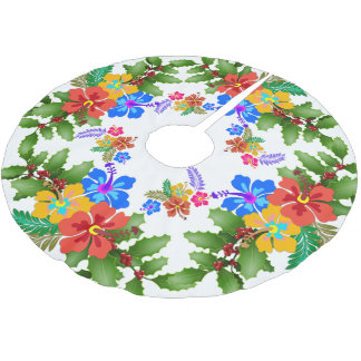 Hibiscus n Holly Tropical Design Brushed Polyester Tree Skirt