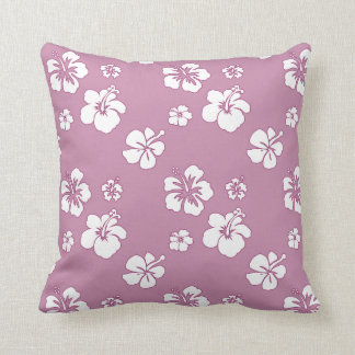 Hibiscus Oleander Pink and White Throw Pillow