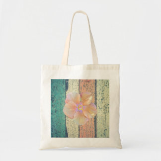 Hibiscus on painted wood tote