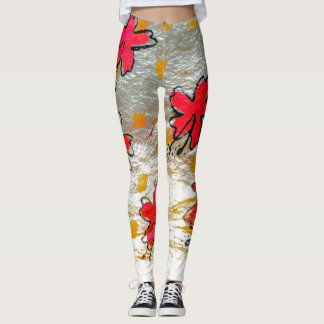 Hibiscus on Tapa Leggings