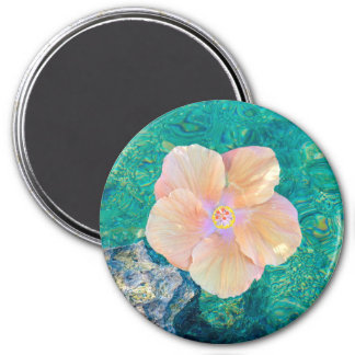 Hibiscus on turquoise water magnet