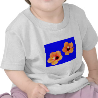 Hibiscus Orange Blue bg The MUSEUM Zazzle Gifts T Shirt