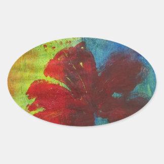 hibiscus oval sticker