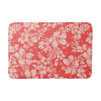 Hibiscus Pareau Distressed Hawaiian Floral- Red Bath Mat