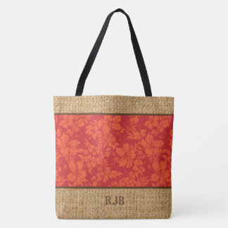 Hibiscus Pareau Hawaiian Monogram Beach Bag