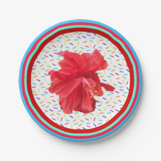 hibiscus party sprinkles and stripes paper plate