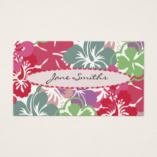 Hibiscus Pattern with Surfboard Business Card