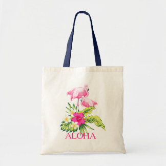 Hibiscus & Pink Flamingos Tropical Design Tote Bag