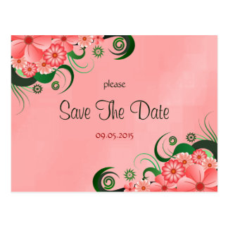 Hibiscus Pink Floral Custom Save The Date Cards Postcard