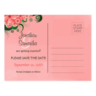 Hibiscus Pink Floral Save The Date Postcards