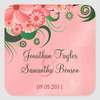 Hibiscus Pink Floral Save The Date Stickers