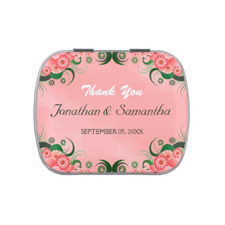 Hibiscus Pink Floral Wedding Favor Candy Tins