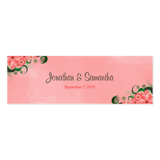 Hibiscus Pink Floral Wedding Favour Favor Tags Double-Sided Mini Business Cards (Pack Of 20)