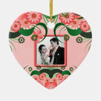 Hibiscus Pink Floral Wedding Keepsake Ornaments