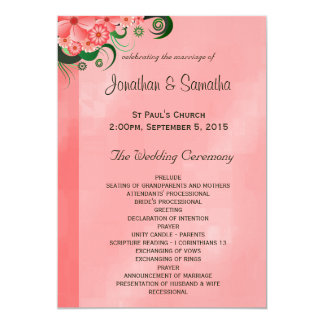 Hibiscus Pink Floral Wedding Program Templates 13 Cm X 18 Cm Invitation Card