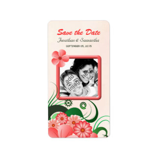 Hibiscus Pink Save The Date Wine Labels Small