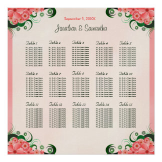 Hibiscus Pink Wedding 15 Tables Seating Charts Poster