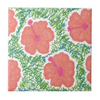 Hibiscus Pop Art Pattern Ceramic Tile